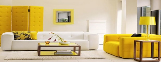 Decoración de interiores en color amarillo