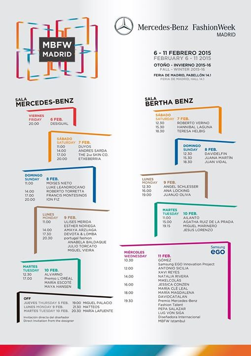 Mercedes Benz Fashion Week Madrid 2015 Calendario