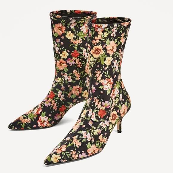 botin calcetín flores