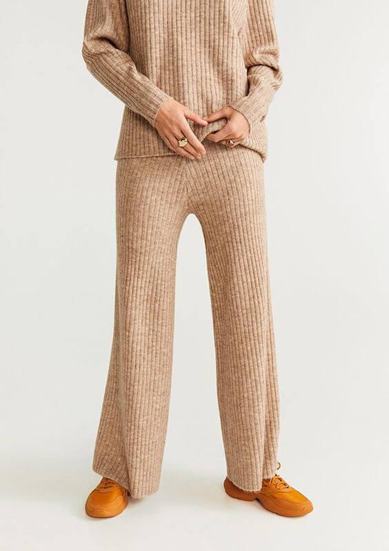 pantalones de punto canalé